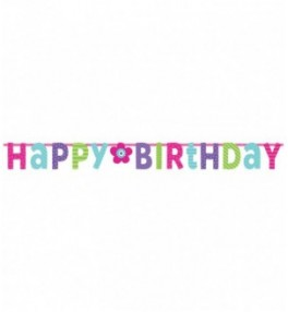 Banner Birthday Pink & Teal