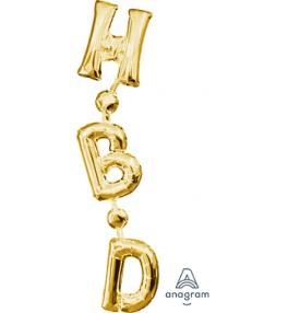 "Shape Phrase ""HBD"" gold 17..."