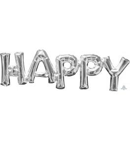 "Shape Phrase ""Happy"" silver..."