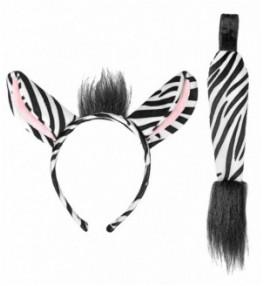Komplekt Zebra (kõrvad, saba)